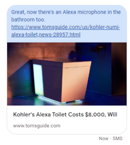 """SMS message with text """"Great, now there's an Alexa microphone in the bathroom too"""""""